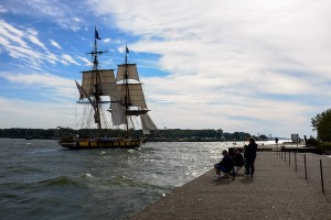 Flagship Niagara Passes Fishermen on the North Pier